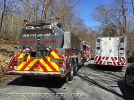 South Salem Tanker 2, Bedford Hills Tanker 5 and Golden's Bridge Tanker 1 in line to dump water into the ponds. Also WCDES C&O Zone 5 on scene.