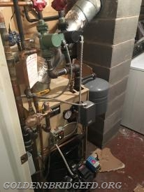 The damage to the boiler room.
