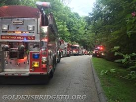 A look up the fire road showing many mutual aid companies.