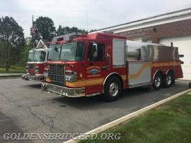 CFFD Engine 148 & GBFD Tanker 1 standing by at SFD HQ.