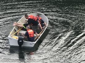 GBFD Marine 25 with the victim in the boat.