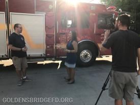 GBFD Rescue Company Lieutenant Raymond Baker Jr. being interviewed by News 12.