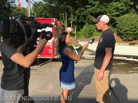 GBFD Chief of Department James McManus being interviewed by News 12.