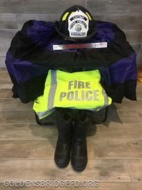 Captain Simoncini's Gear set up a memorial in the firehouse lobby.