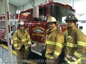 Capt. Tyler Dente, 1st. Assistant Chief Albert Melillo and Lt. Rescue Jordan Miller.